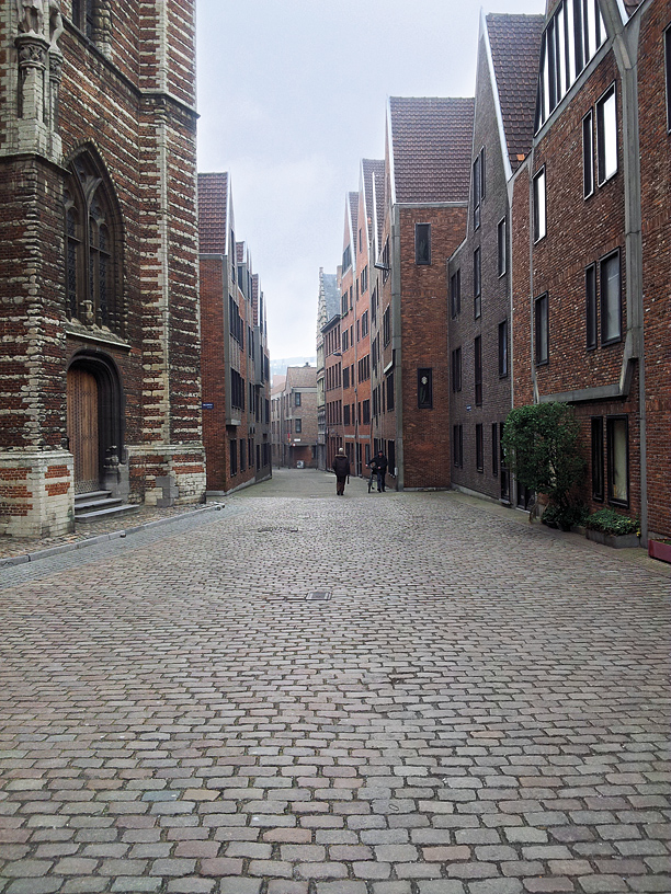 A cobbled street in Antwerp's picturesque old quarter.