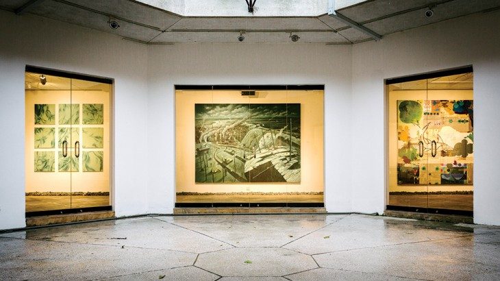 A dystopian landscape by Malaysian artist Fadhli Shaimy on display in the subterranean gallery of the Rimbun Dahan arts center.