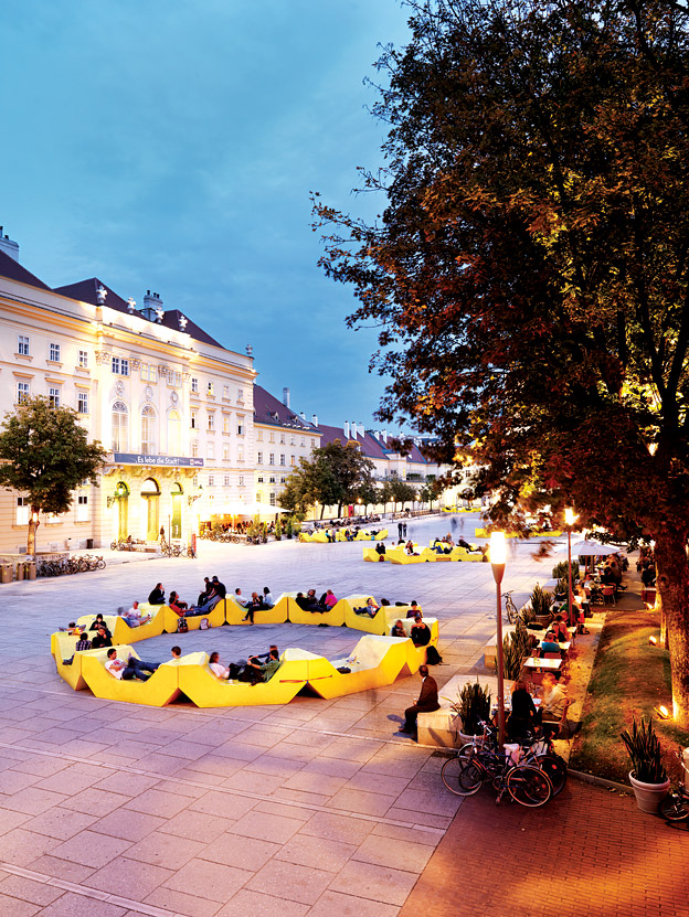 Twilight in the courtyard of Vienna's MuseumsQuartier.