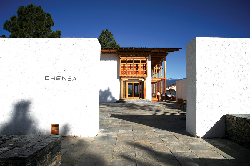 The entrance to Dhensa Punakha in Bhutan.