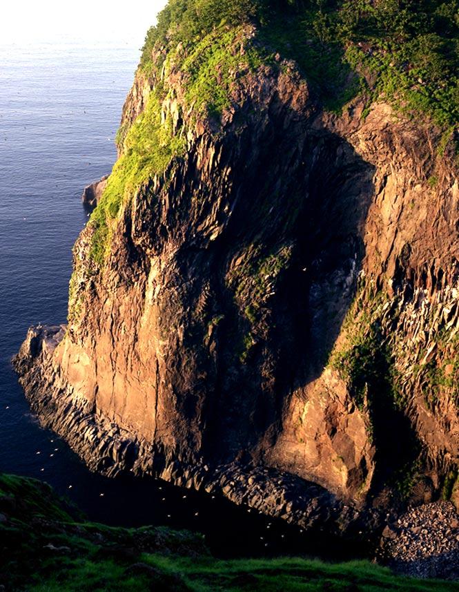 Sea cliffs along the western coast of the Shiretoko Peninsula.