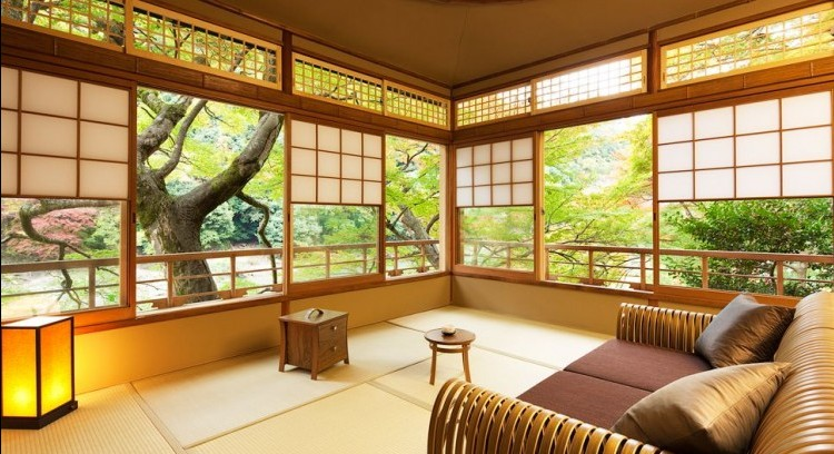The Tsukihashi room at Hoshinoya Kyoto.