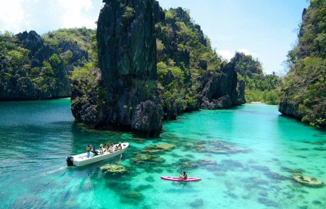 Kayaking at El Nido's Big Lagoon.