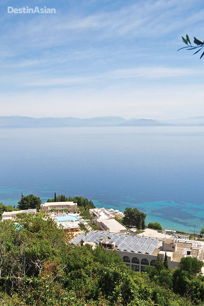 Looking down on the Marbella, a five-star resort on the island's pebbly east coast.