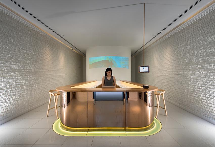 Macalister Mansion's minimalist reception area.