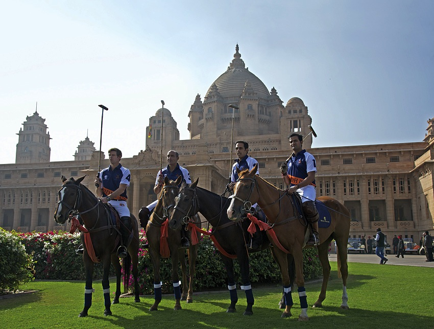 Malcolm Borwickand teammates in from of the Umaid Bhawan Palace.