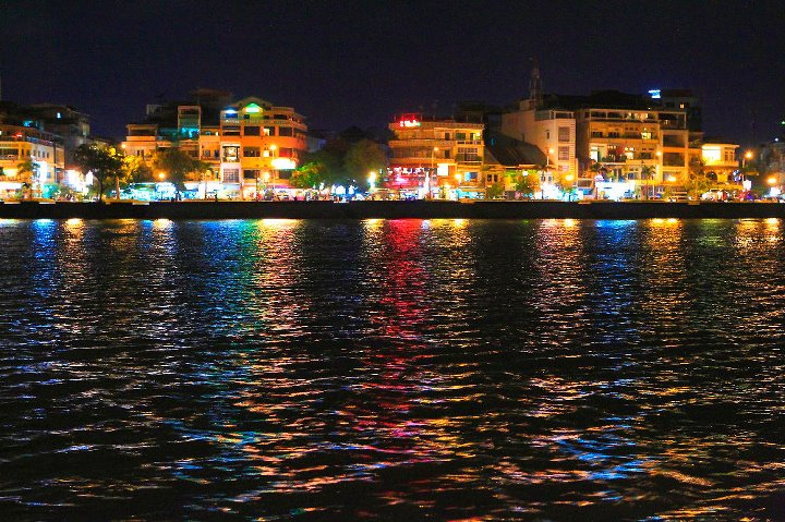 Lights reflect on the Mekong River in Phnom Penh.