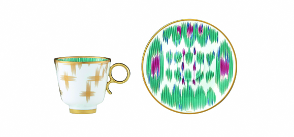A cup and saucer set from the collection.