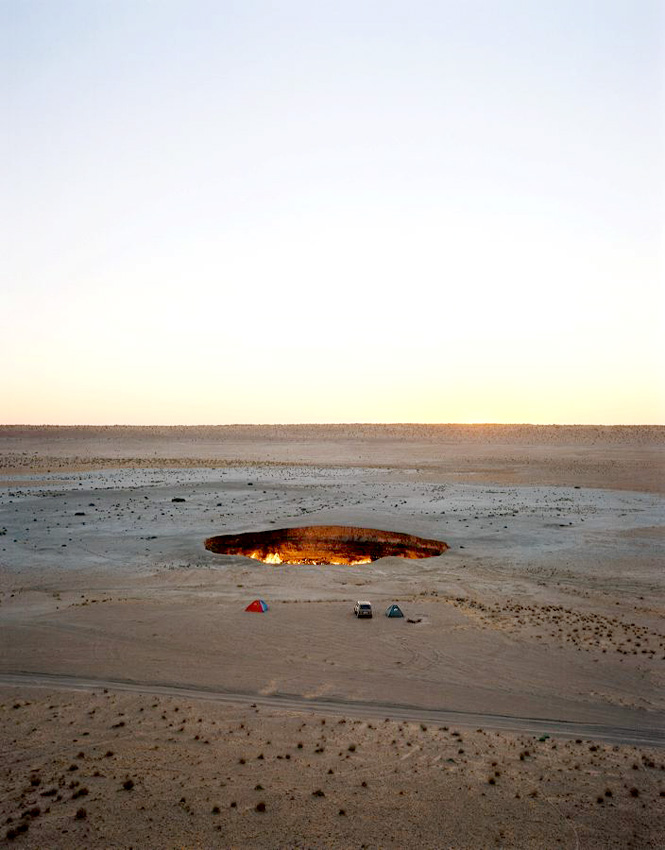 Deep in the Karakum Desert, the flaming gas crater near Darvaza makes for a surreal campsite.