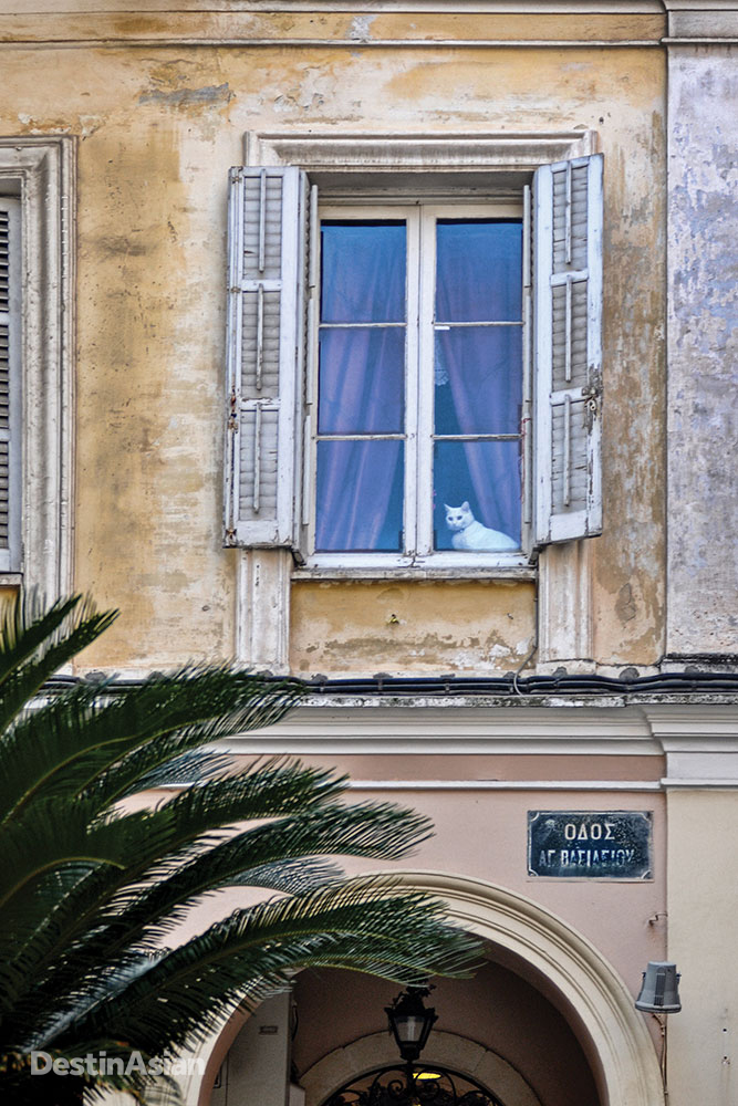 One of Corfu Town's color-washed houses.