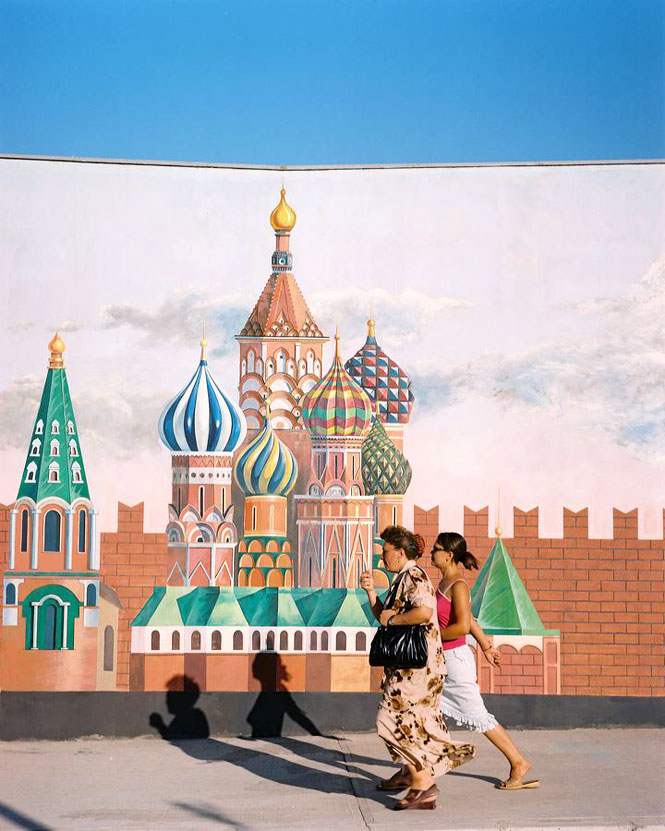 A mural of the Kremlin outside the capital's World of Turkmen Fairy Tales amusement  park.