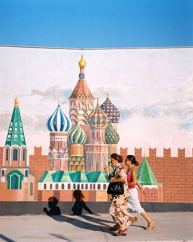 A mural of the Kremlin outside the capital's World of Turkmen Fairy Tales amusement  park.