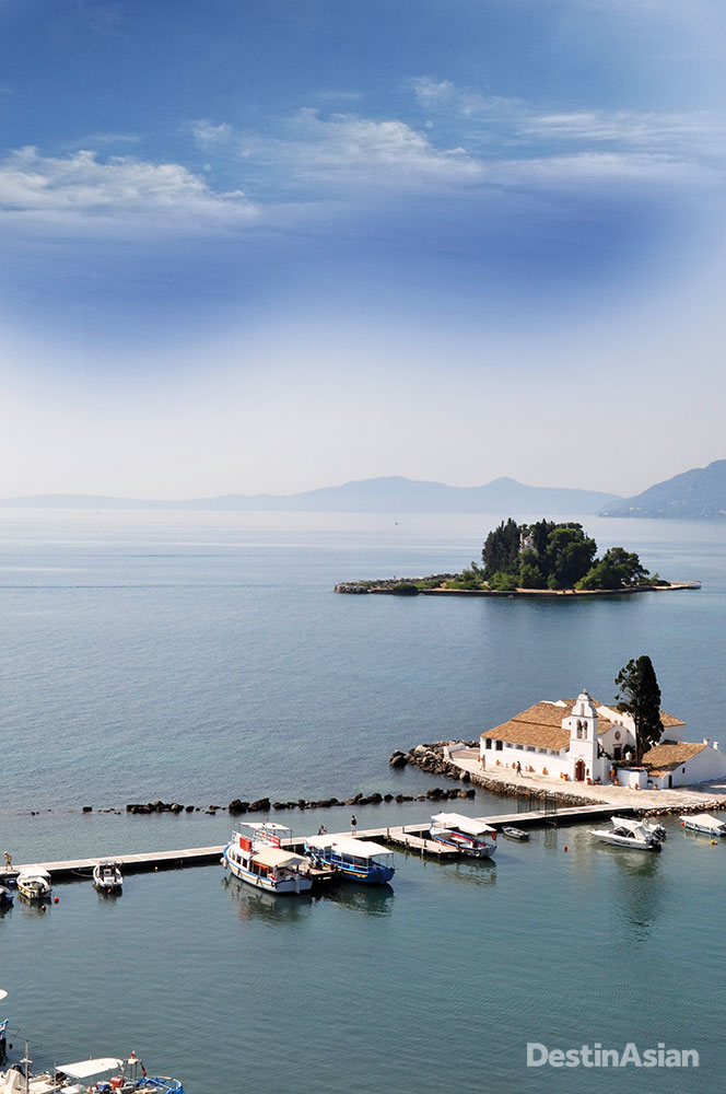 The 17th-century monastery of Vlacherna occupies its own islet just south of Corfu Town.