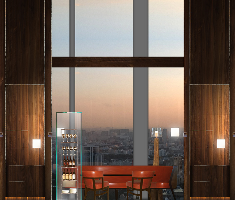 The Tavern serves provincial European food and has floor-to-ceiling windows.