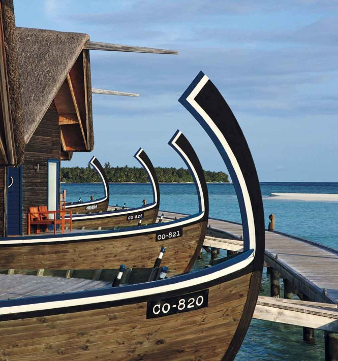 The overwater suites at COMO Cocoa Island take their shape from the traditional Maldivian dhoni boat.
