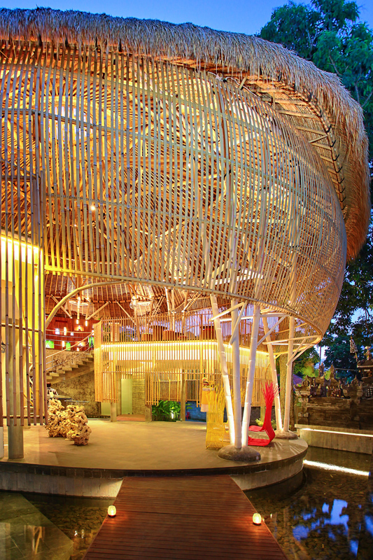 The striking bamboo reception and dining area.