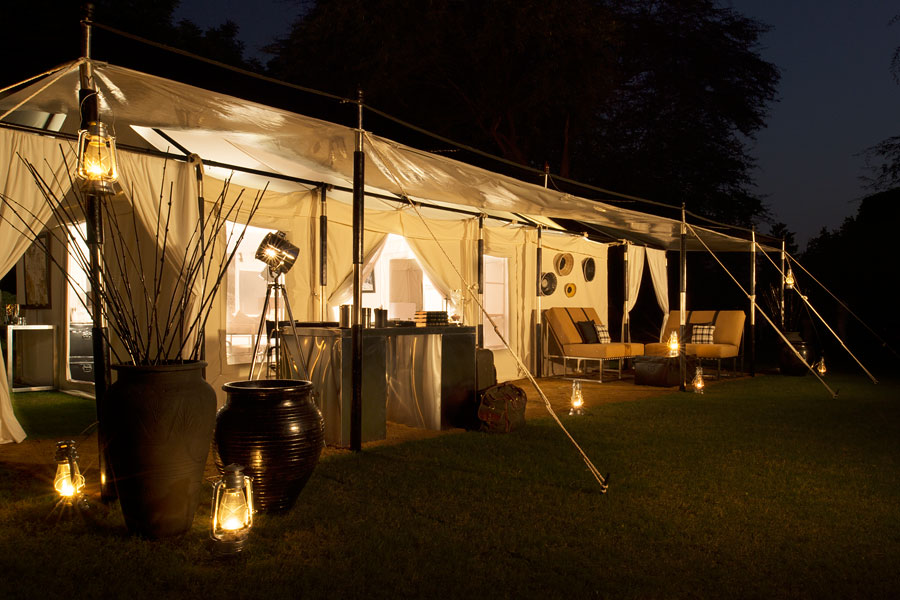 The camp encompasses eight plushly appointed tented suites.