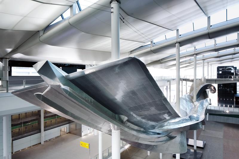 An aluminum installation by artist Richard Wilson.