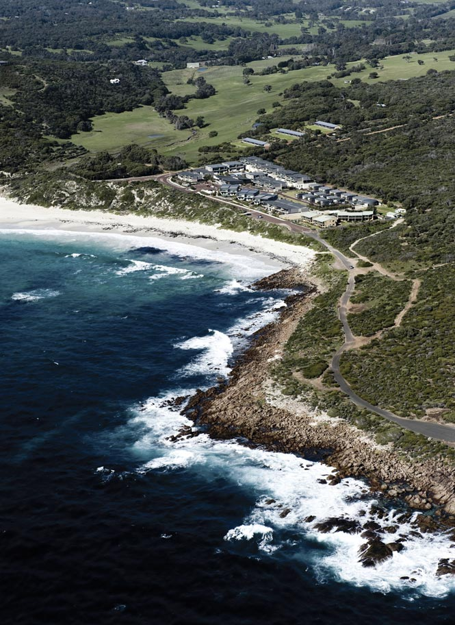 Overlooking Smiths Beach Resort, a collection of sleek villas and beach houses outside the town of Yallingup