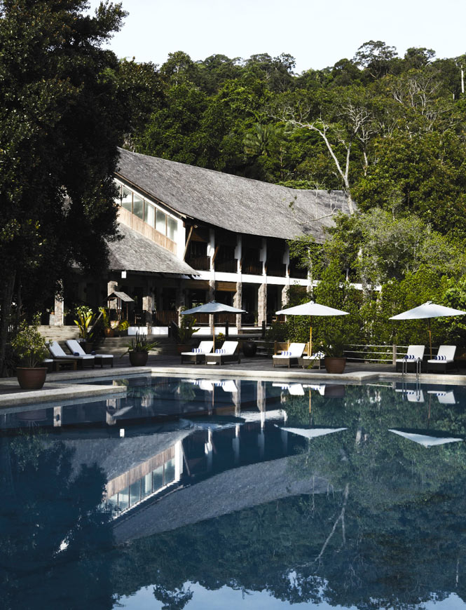 Poolside at Bunga Raya, a resort on Gaya Island.