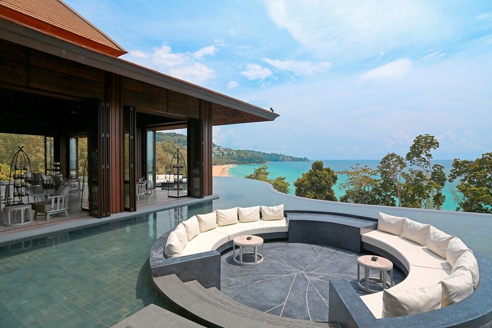 The resort is located on a cliffside with dramatic sea views.