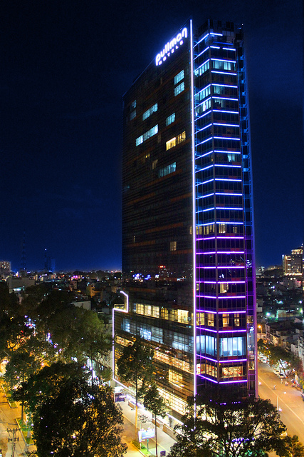 Night glow at the Pullman Saigon.