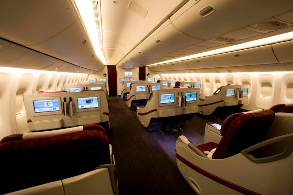 Guests can recline fully aboard Qatar's business class.