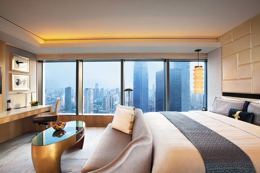 Large windows give guests panoramic views of the city.