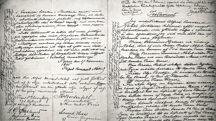 A photo of Alfred Nobel's will, dated November 27, 1895.