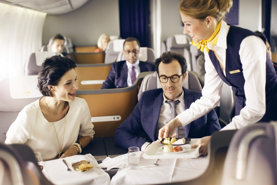 Meals are served on ceramic crockery with Lufthansa's newest in-flight dining concept.