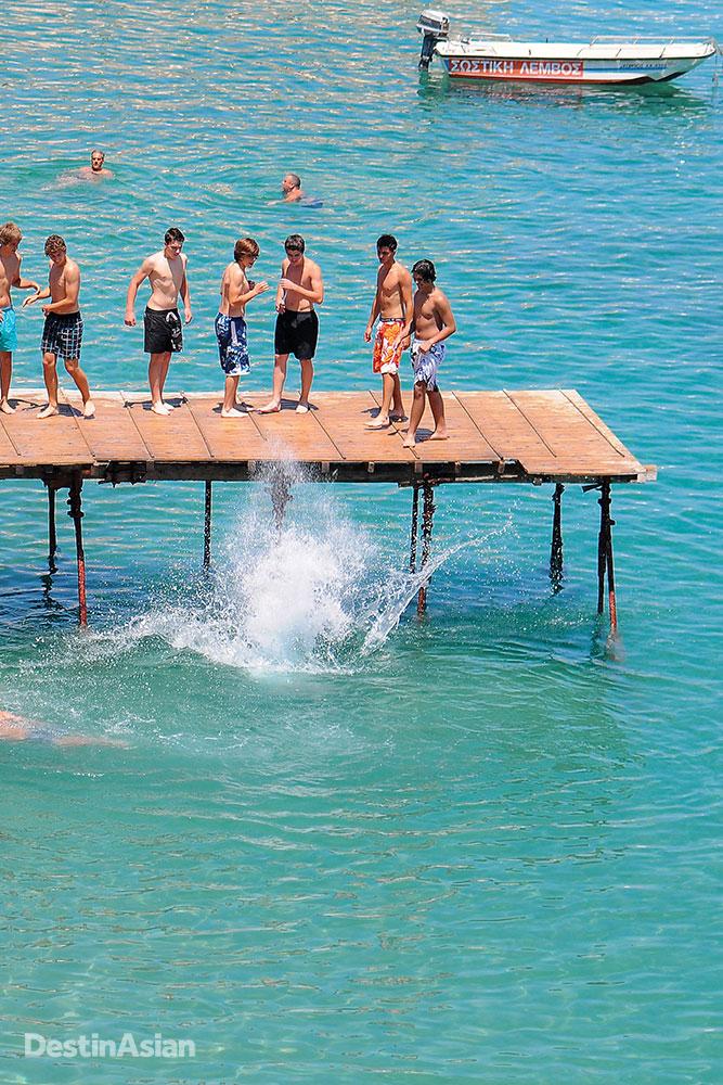 Cooling off at Alekos Beach.
