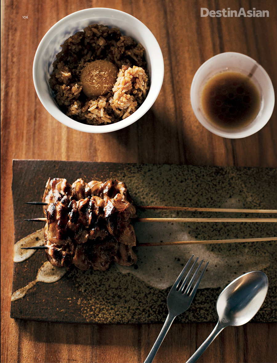 Charcoal-grilled pork skewers at Toyo Eatery, chef Jordy Navarra's newest venture.