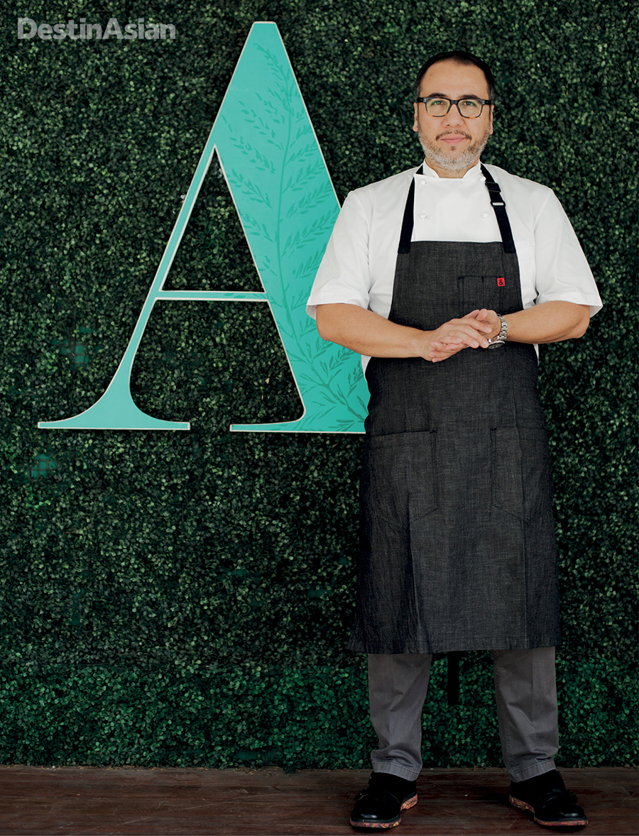 Chef Fernando Aracama at the entrance to his restaurant.
