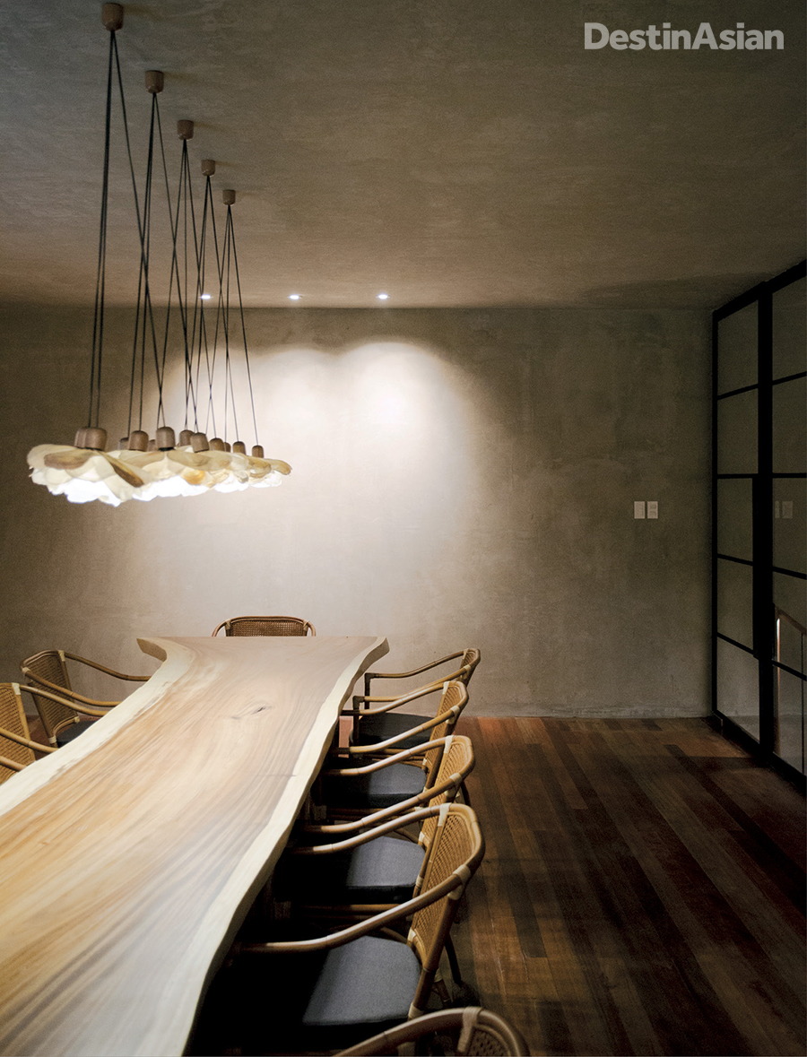 A communal dining table at Toyo Eatery.