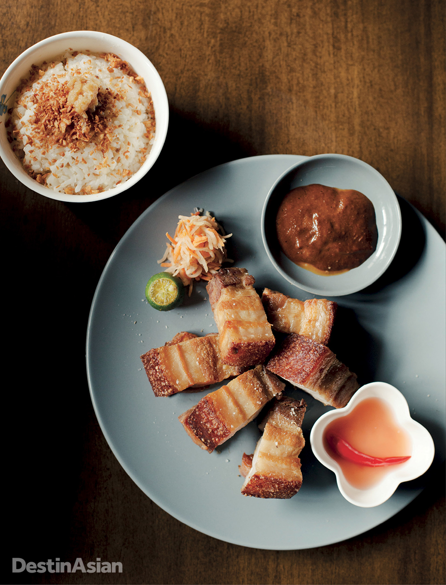 Lechon kawali - oven roasted pork belly - with sinamak (spiced vinegar) and chocolate sauce at Kafe Batwan.
