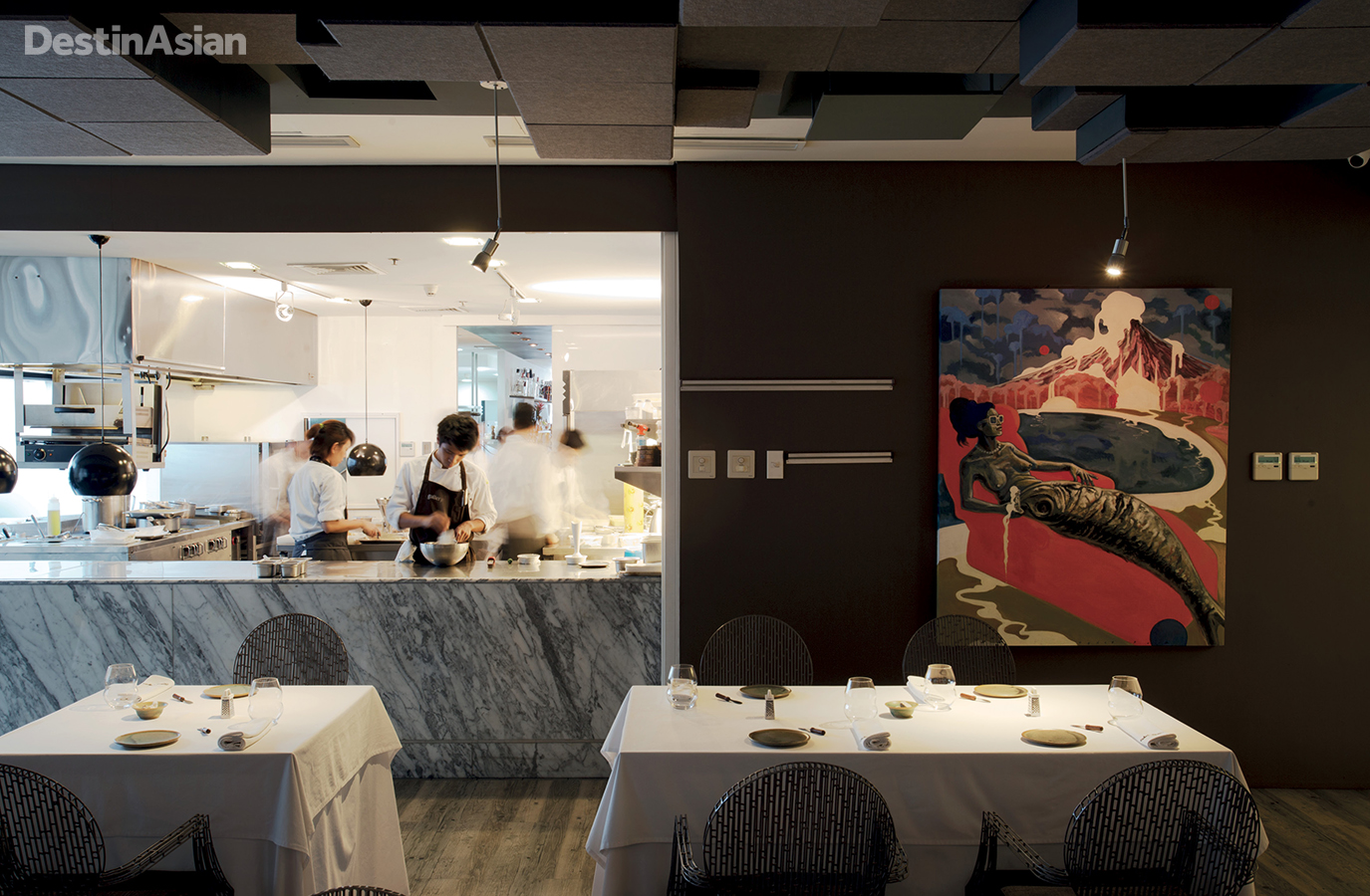 The gleaming open kitchen  and curated artworks of chef Jose Luis Gonzalez's 20-seat fine-dining restaurant Gallery Vask.