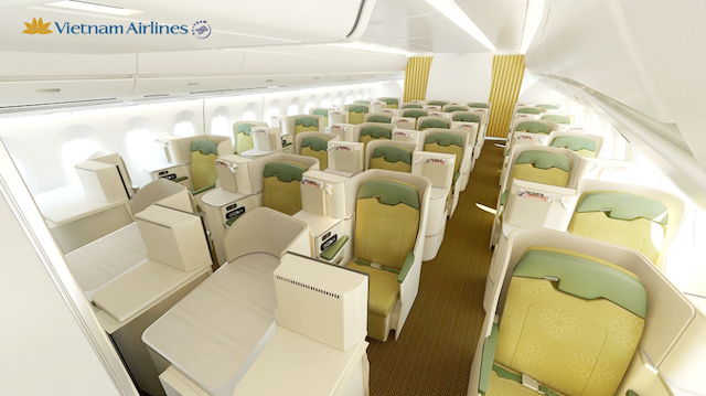 On the A350, Business Class is located in the front end of the aircraft.