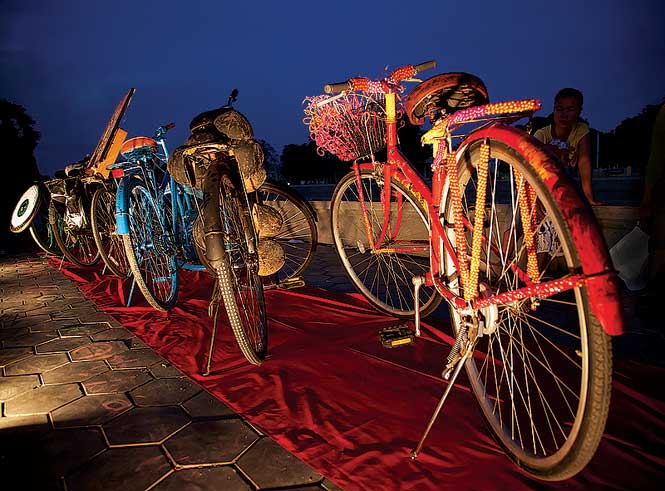 """Art bikes"" on display during the first Art Explo."