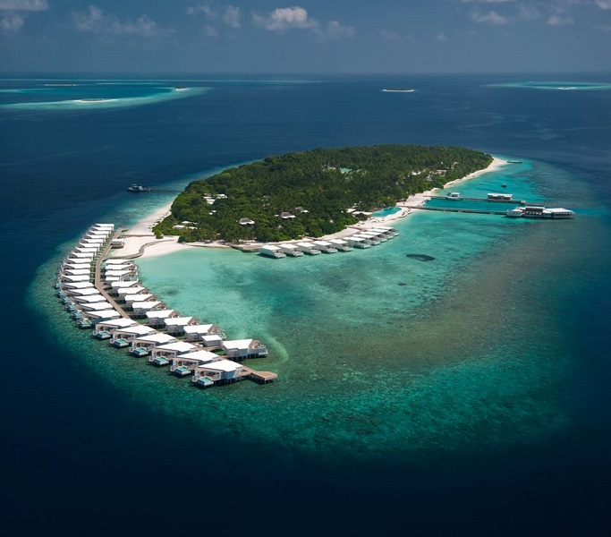 An aerial view of the resort in the Baa Atoll.