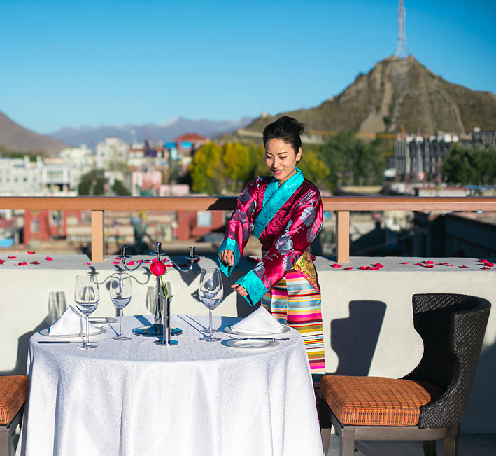 Tibet-inspired nibbles are on offer at the Shangri-La Hotel, Lhasa.