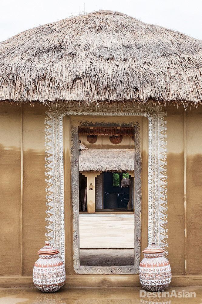 The entrance to Meghauli Serai's village-inspired dining courtyard.