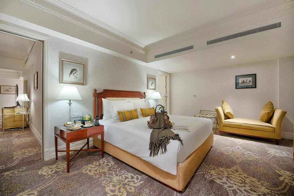 The hotel's Masterpiece Suite with a separate living room and floor-to-ceiling windows.