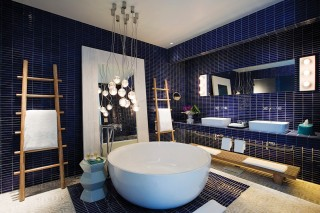 The spacious bathroom in a bay suite.