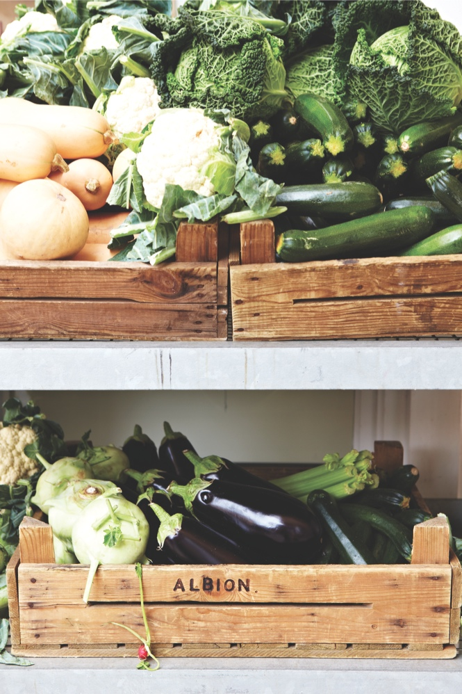 Fresh veggies at Albion, a café and grocery in Shoreditch.