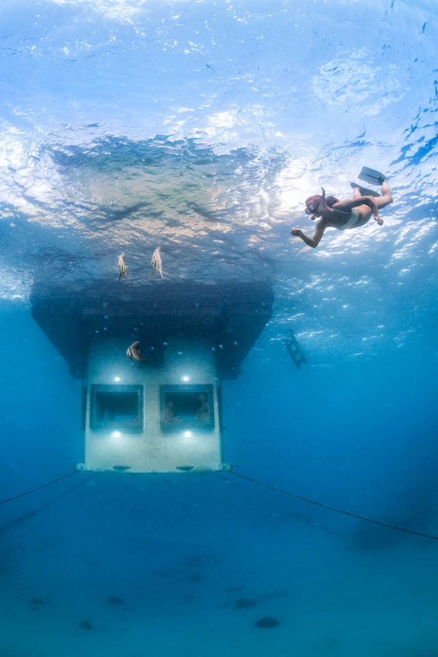 The Underwater Room floats 250 meters off the shore of Pemba Island.
