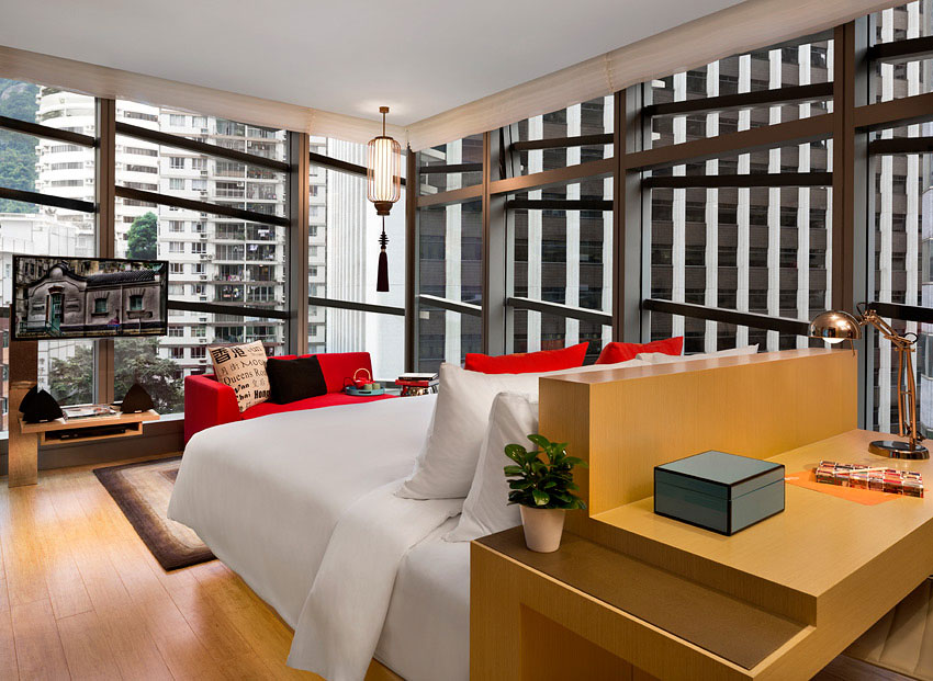 Located in the Wan Chai area, many of the rooms feature city views, although a couple look out towards the mountains.