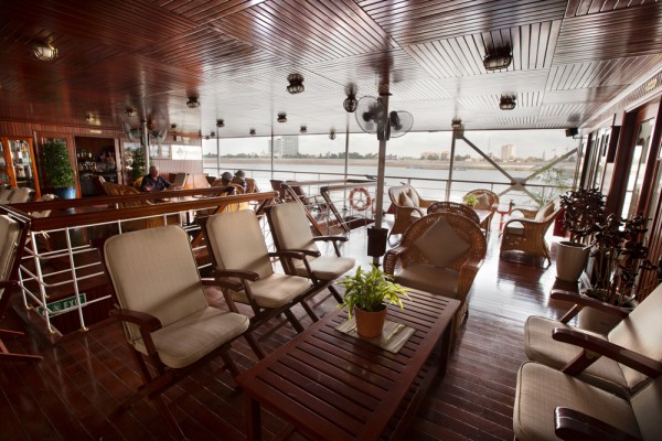 Public spaces on the ship include a 24-hour hospitality bar and as well as a library.