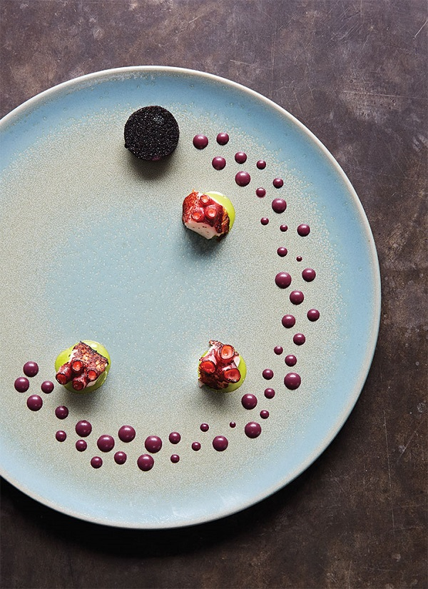 Central's Octopus in the Desert features grilled octopus with an emulsion of airampo (prickly purple pear).