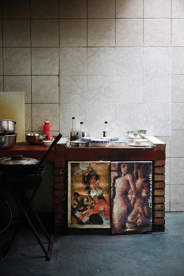 The kitchen at Chez Wong.