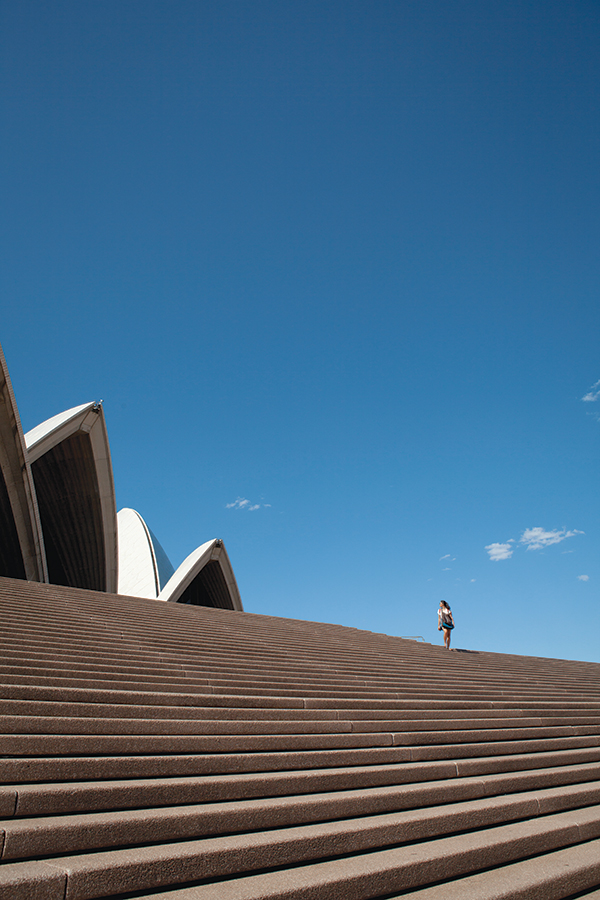 On the steps of the Sydney Opera House.